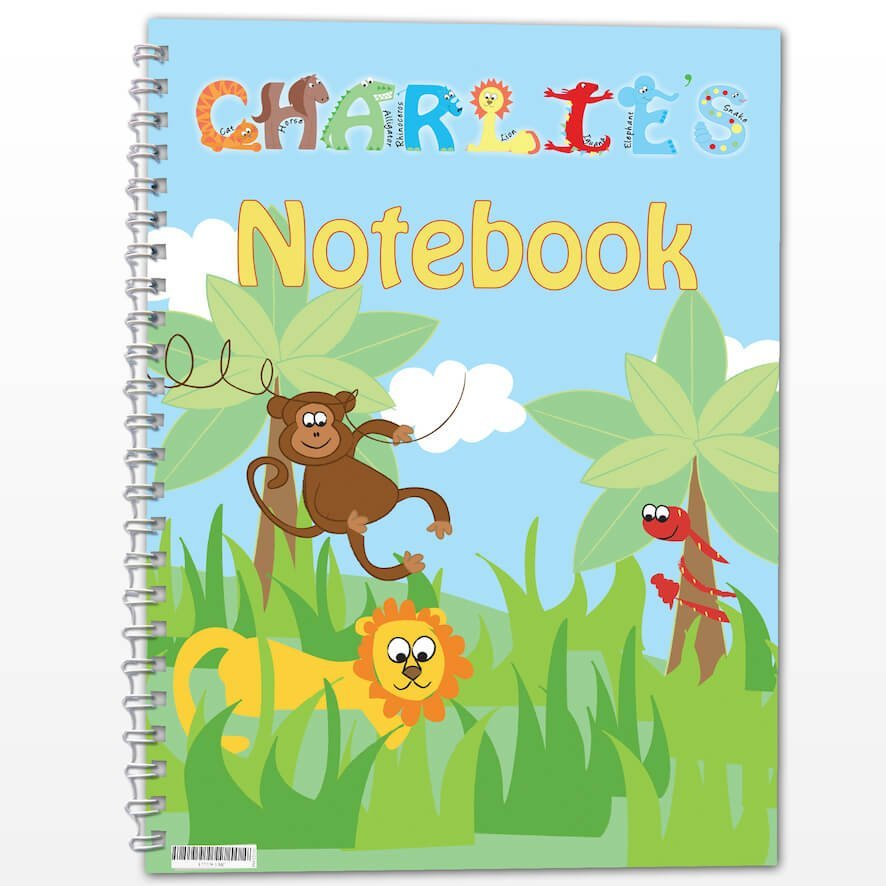 Personalised Blue Animal Alphabet – A5 Notebook