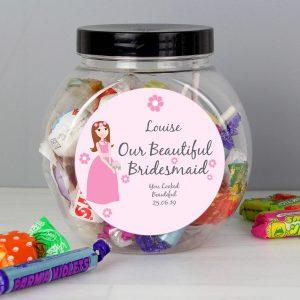 Personalised Beautiful Bridesmaid Sweet Gift Jar