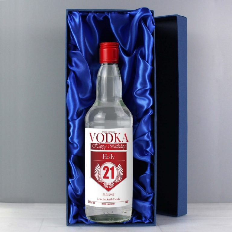 Personalised Birthday Red & Silver Vodka with Gift Box