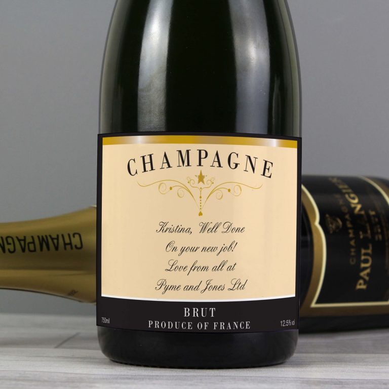 Personalised Any Message Classic Label Champagne