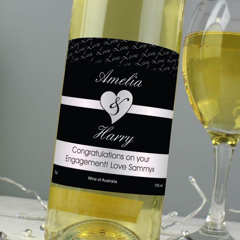 Personalised Couples White Wine – Black Design