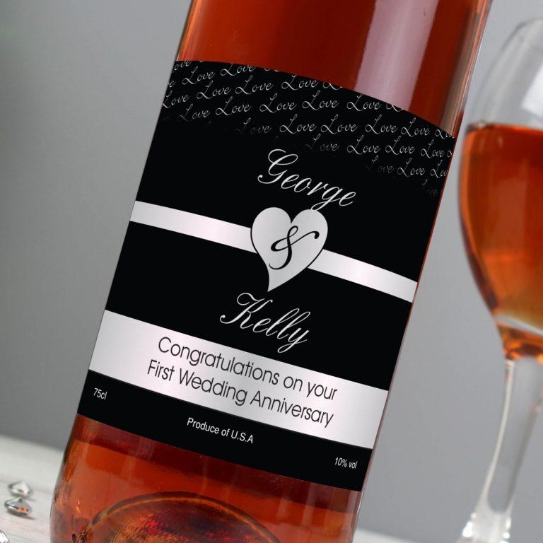 Personalised Couples Heart Rose Wine – Black Design