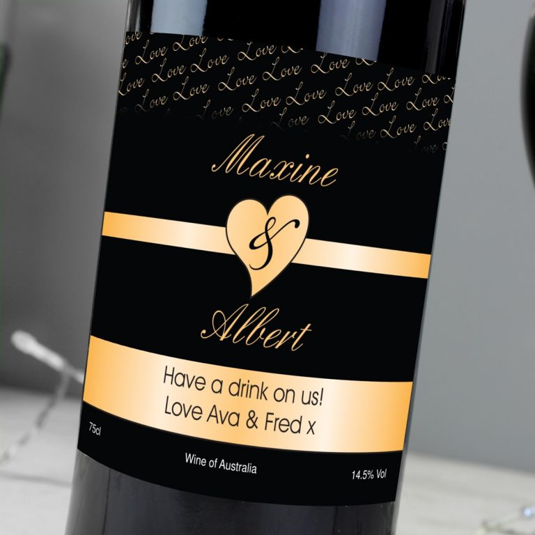Personalised Couples Heart Red Wine – Black Design