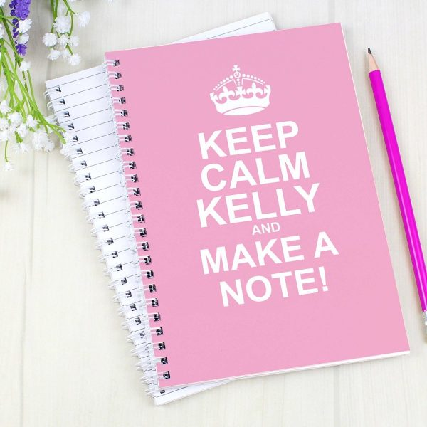 Personalised Keep Calm Pink A5 Notebook
