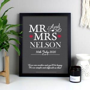 Personalised Mr & Mrs Black Framed Print
