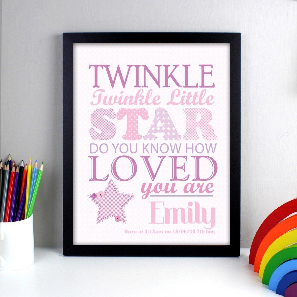 Personalised Twinkle Girls Black Framed Print