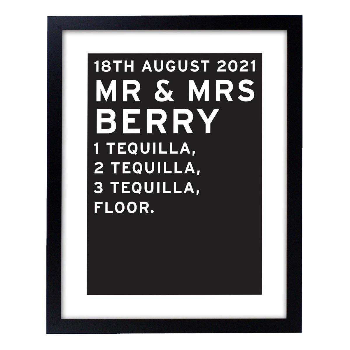 Personalised Typography Black Framed Print