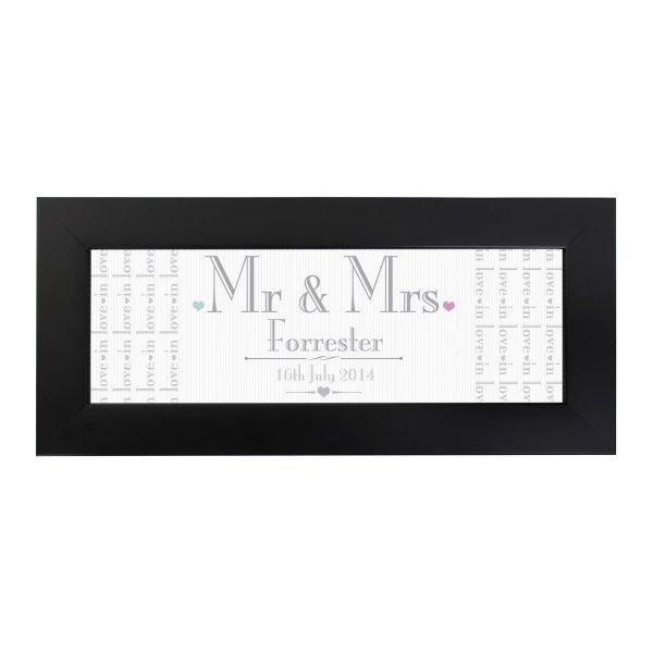Personalised Decorative Wedding Mr & Mrs Black Name Frame