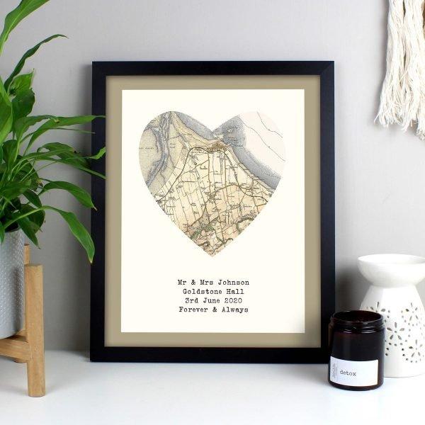 Personalised 1896 – 1904 Revised Map Heart Black Framed Print
