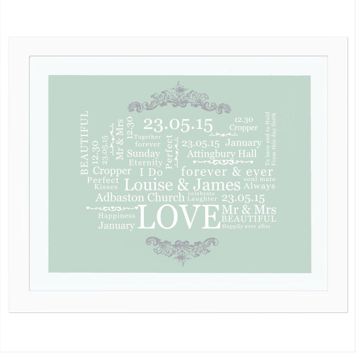 Personalised Wedding Typographic Art White Framed Print