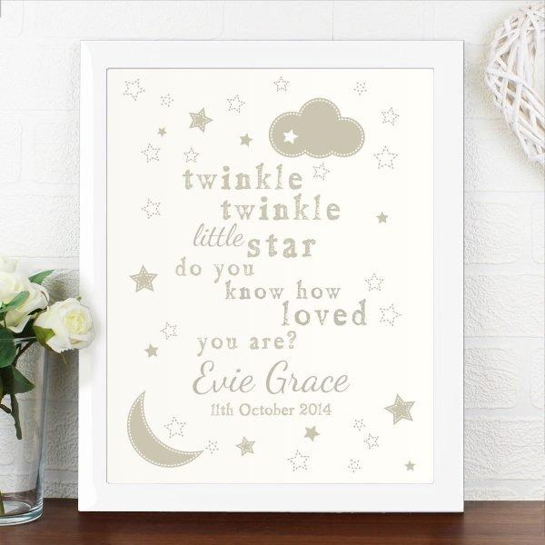 Personalised Twinkle Twinkle White Framed Print