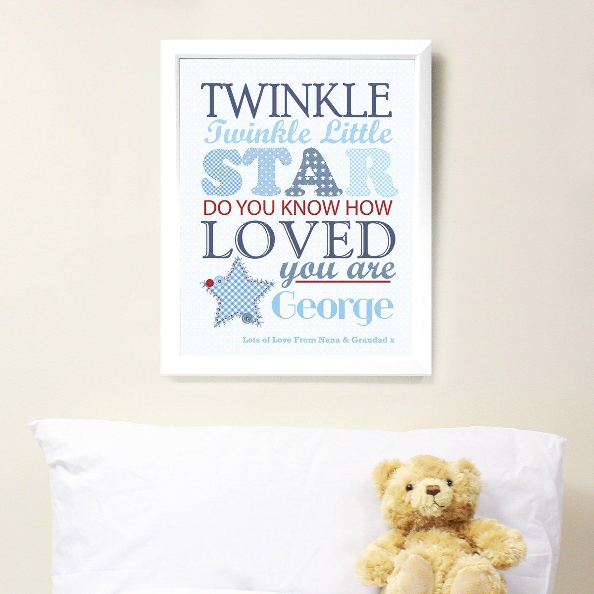 Personalised Twinkle Boys White Framed Print