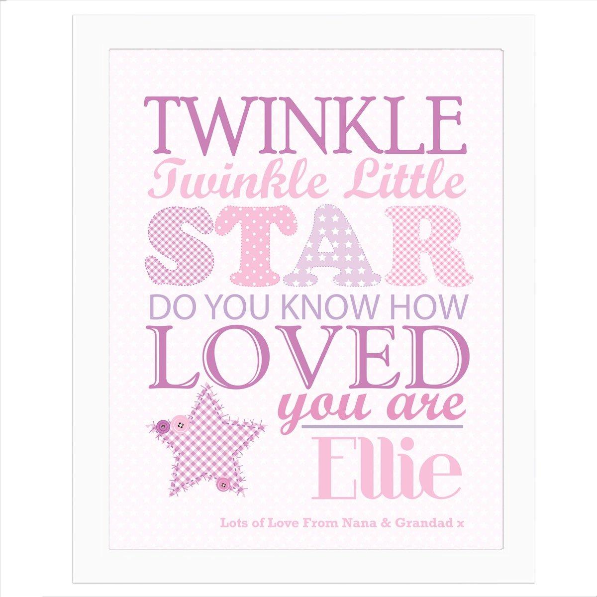 Personalised Twinkle Girls White Framed Print