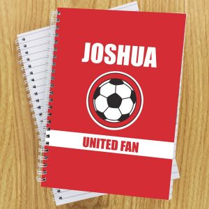 Personalised Red Football Fan A5 Notebook