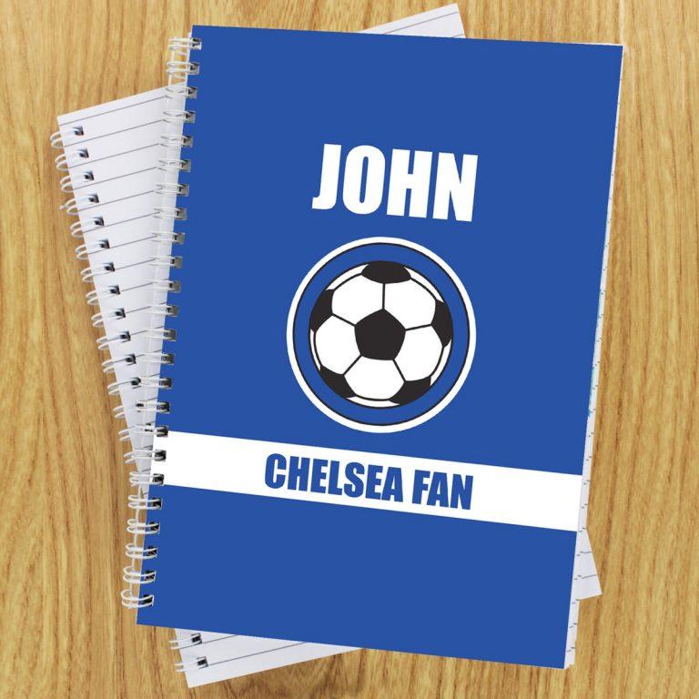 Personalised Dark Blue Football Fan A5 Notebook