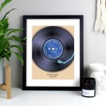 Personalised Retro Vinyl Black Framed Print