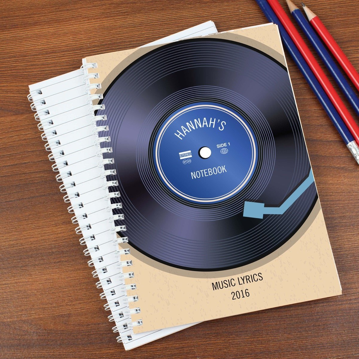 Personalised Retro Vinyl A5 Notebook