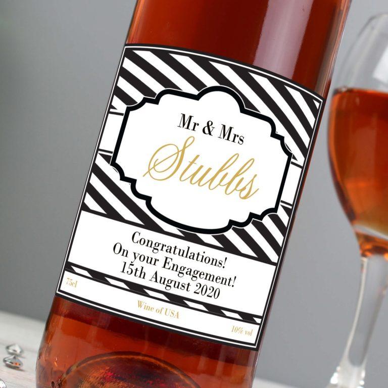 Personalised Art Deco Striped Rose Wine
