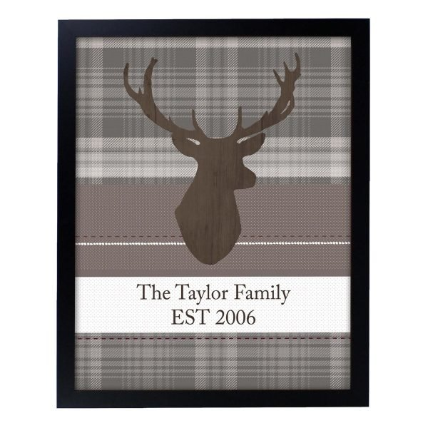 Personalised Highland Stag Black Framed Print