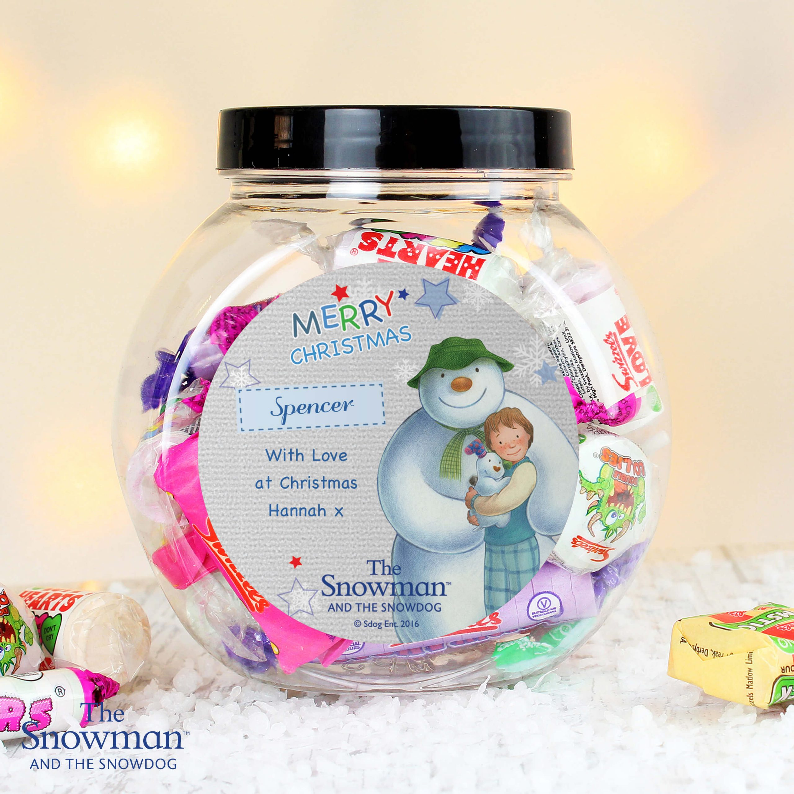 Personalised The Snowman and the Snowdog Blue Sweet Gift Jar