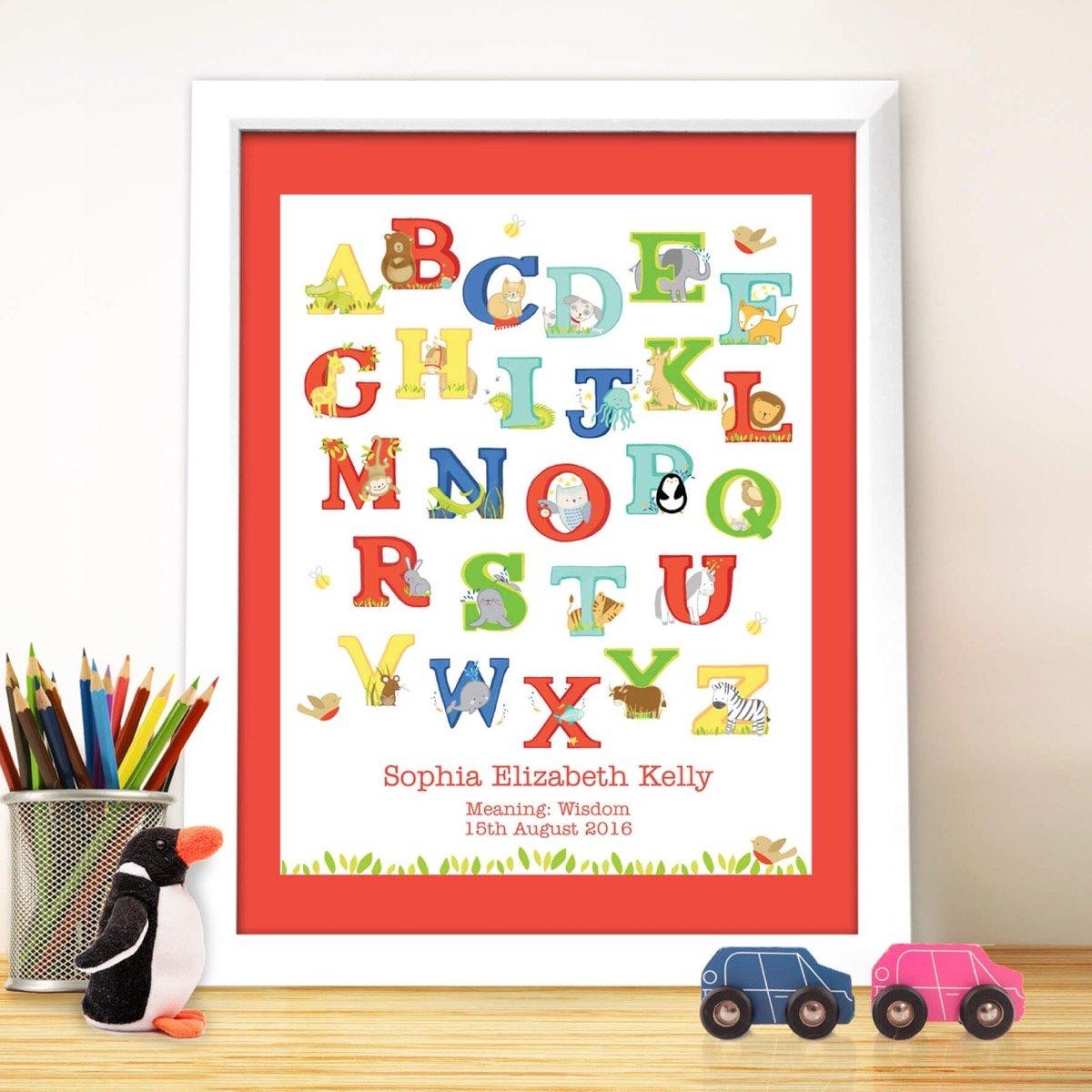 Personalised Animal Alphabet White Framed Print