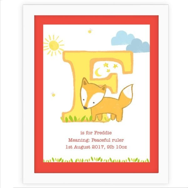 Personalised Animal Initial White Framed Print