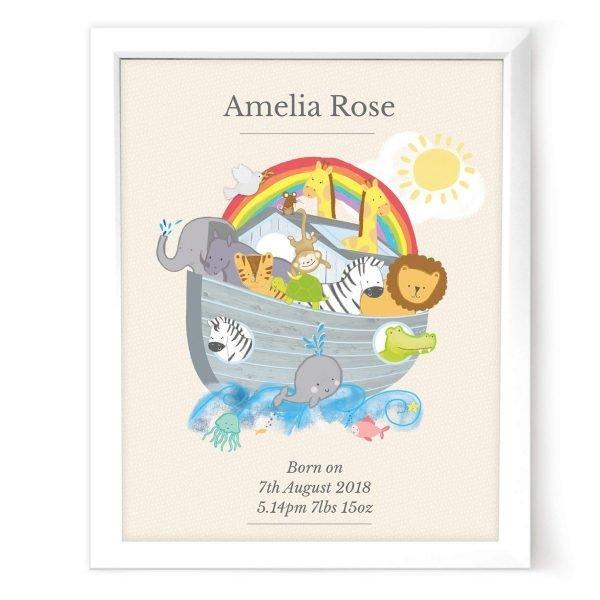 Personalised Noah's Ark White Framed Print