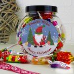 Personalised Tartan Santa Sweet Gift Jar