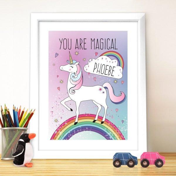 Personalised Unicorn White Framed Print