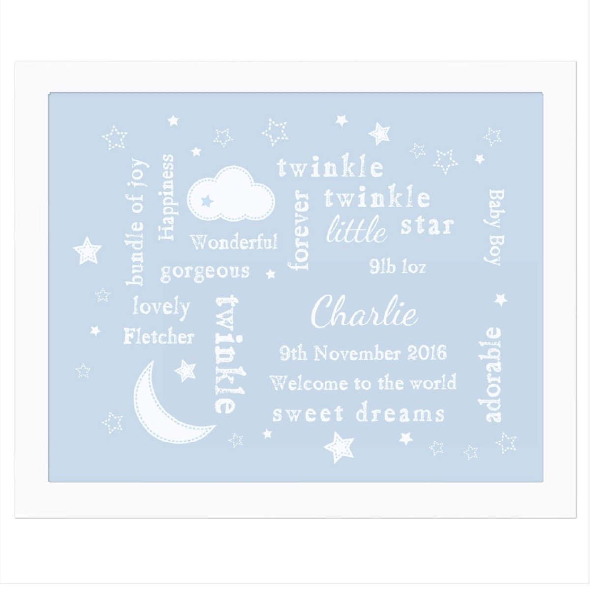Personalised Blue Twinkle Twinkle Typography White Framed Print