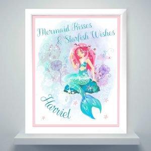 Personalised Mermaid White Framed Print