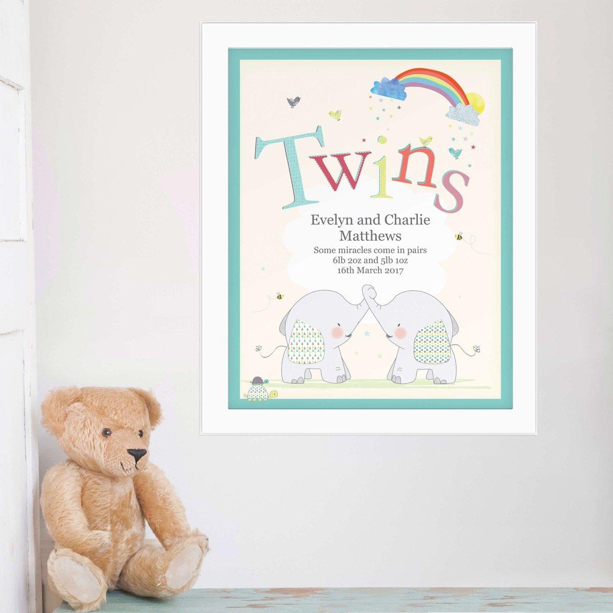 Personalised Hessian Elephant Twins White Framed Print