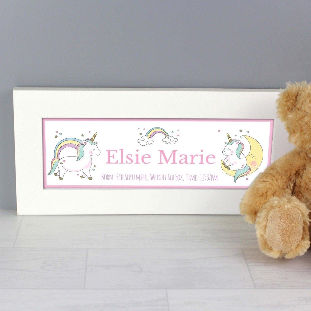 Personalised Baby Unicorn Name Frame