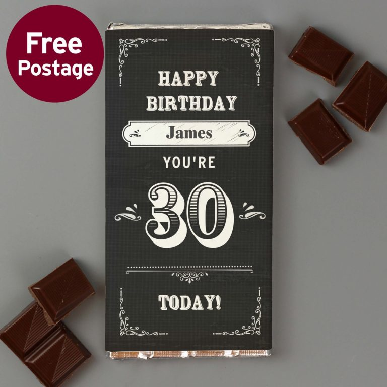 Personalised Birthday Vintage Typography Milk Chocolate Bar