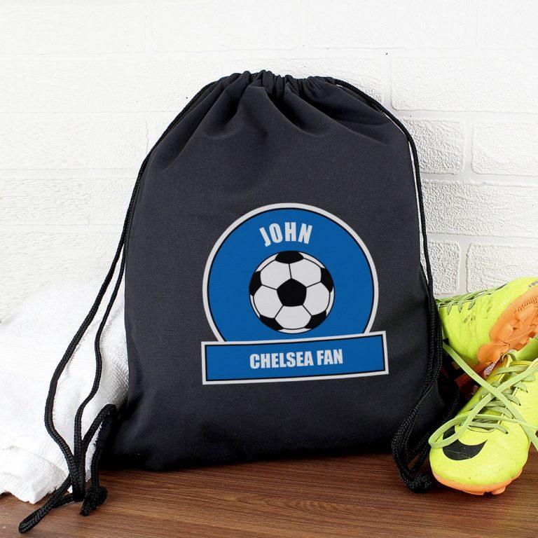 Personalised Dark Blue Football Fan Swim & Kit Bag