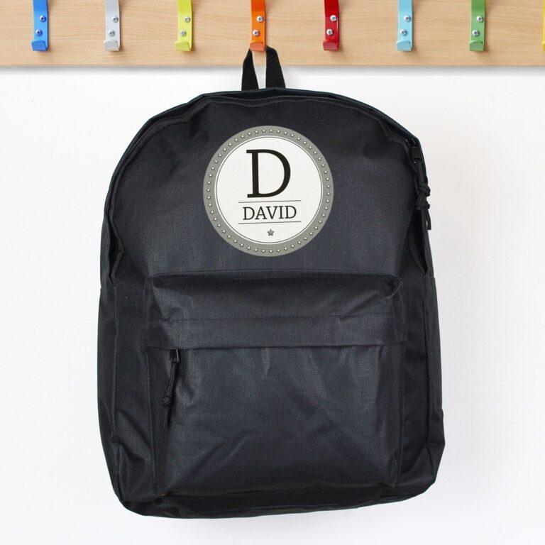 Personalised Star Name Black Backpack
