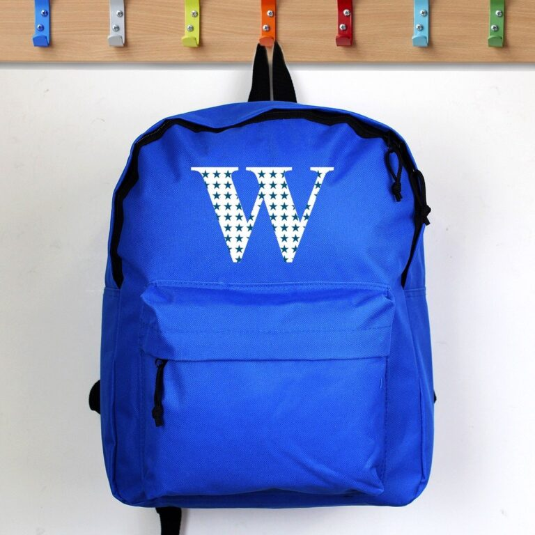 Personalised Star Initial Blue Backpack