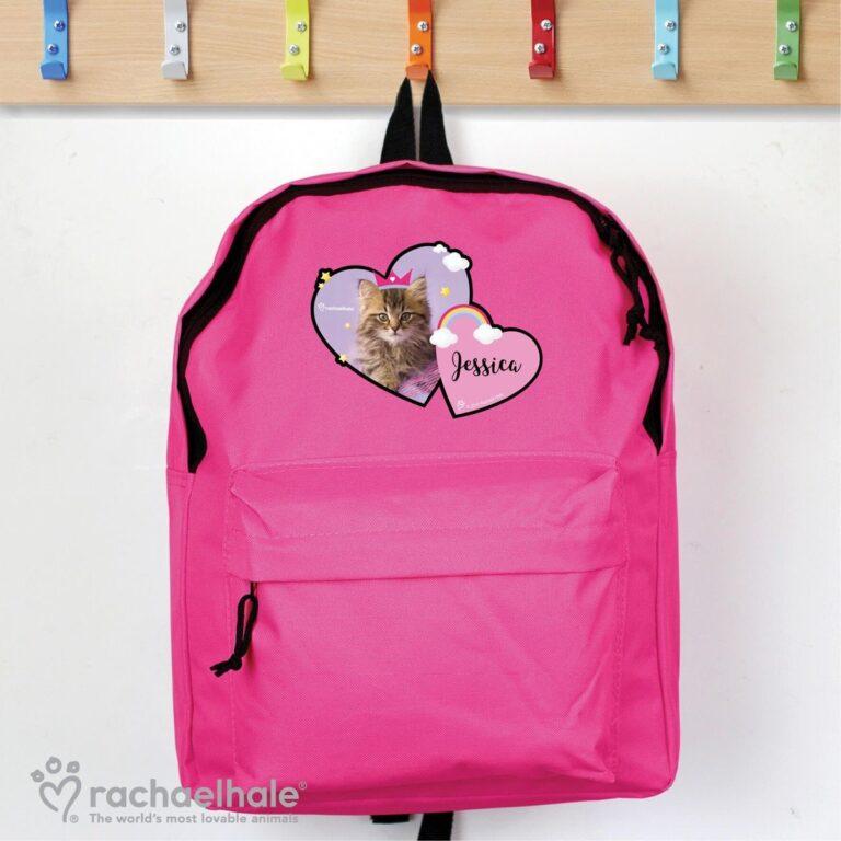 Personalised Rachael Hale Cute Cat Pink Backpack