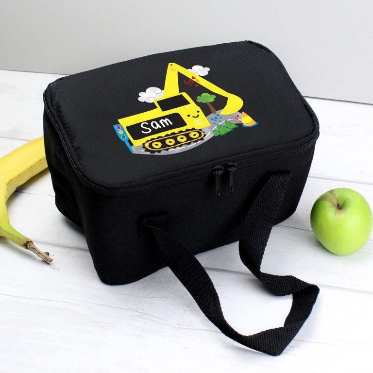 Personalised Digger Black Lunch Bag