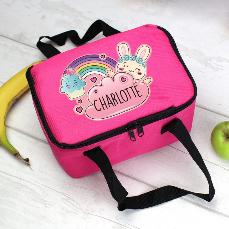 Personalised Cute Bunny Pink Lunch Bag