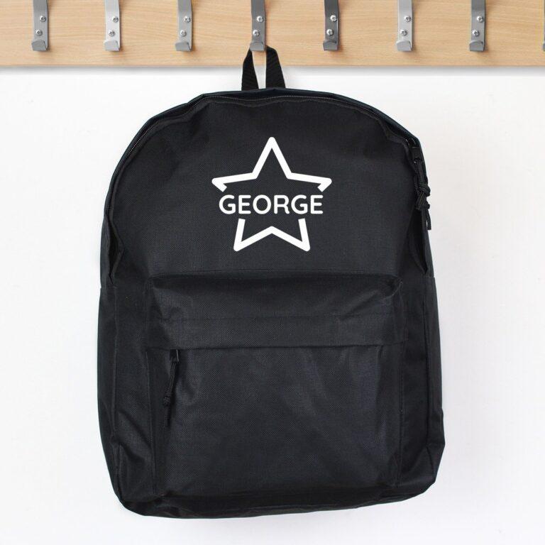 Personalised Star Black Backpack