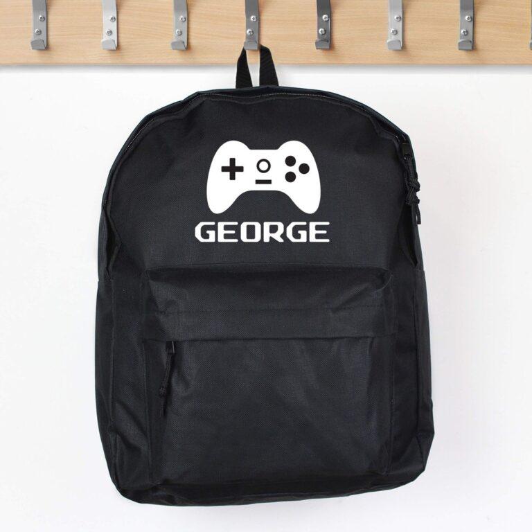 Personalised Gaming Black Backpack