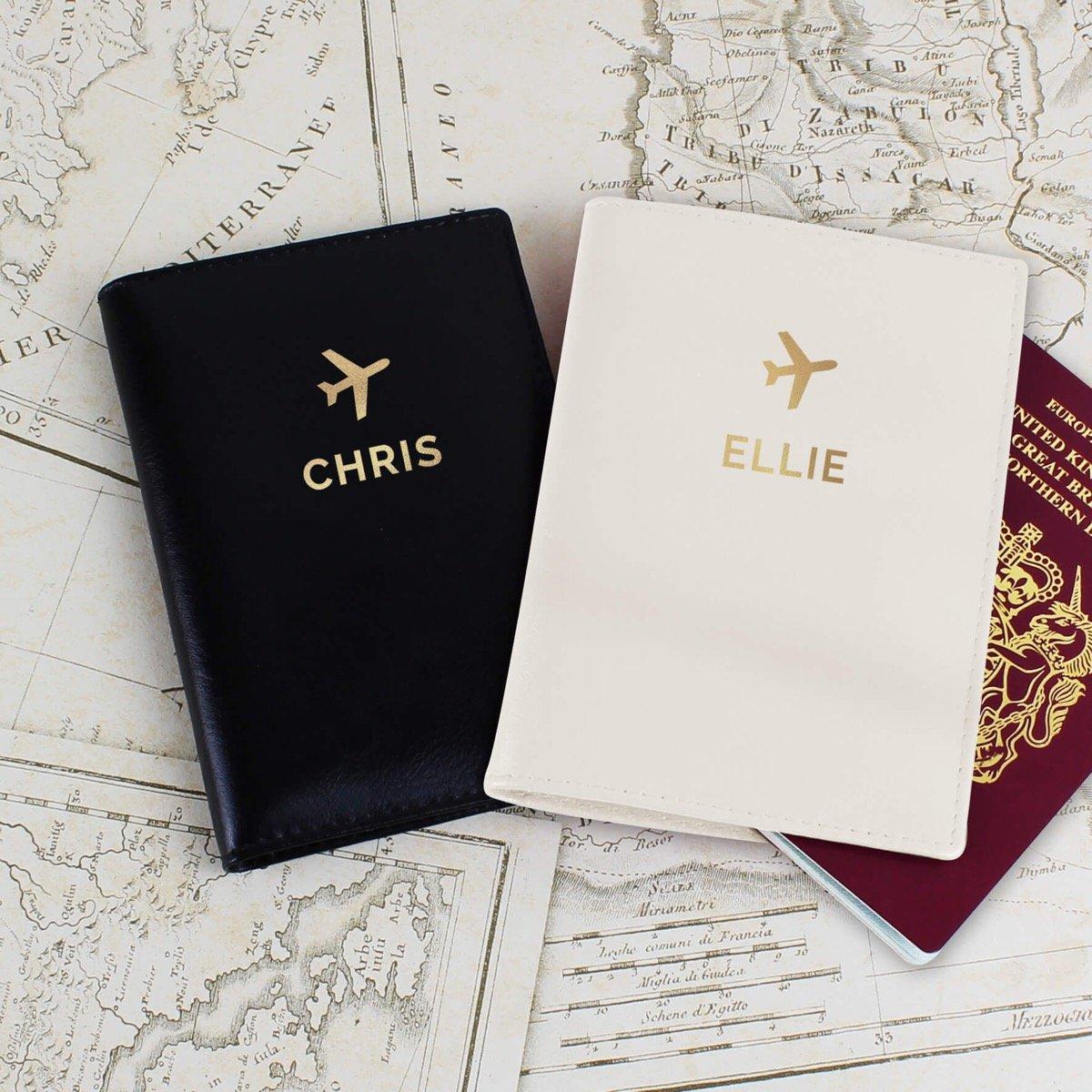 Personalised Gold Name Passport Holders Set