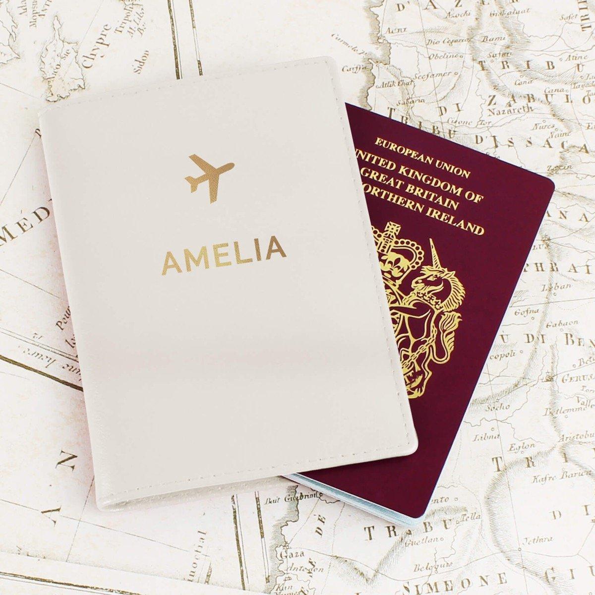 Personalised Gold Name Cream Passport Holder