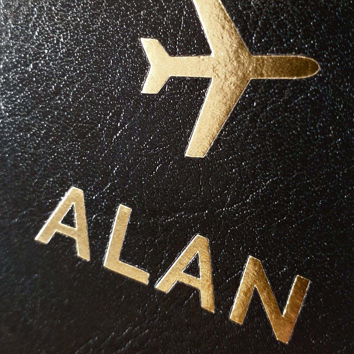 Personalised Gold Name Black Passport Holder