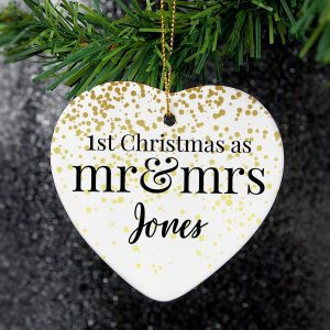 Personalised Mr and Mrs 1st Christmas Ceramic Heart Decoration