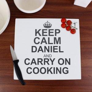 Personalised Keep Calm Glass Chopping Board/Worktop Saver