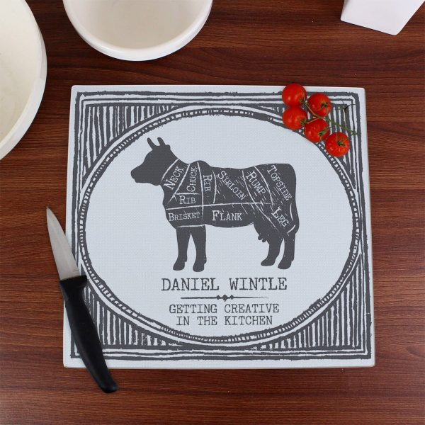 Personalised Meat Cuts Glass Chopping Board/Worktop Saver