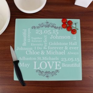 Personalised Typography Glass Chopping Board/Worktop Saver