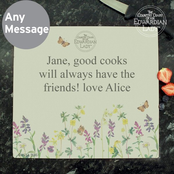 Personalised Country Diary Wild Flowers Glass Chopping Board/Worktop Saver